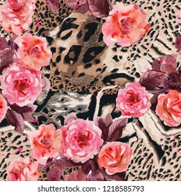 Textile pattern wild tiger and jaguar skin with watercolor roses. Pink warm roses on wild jaguar and tiger skin.