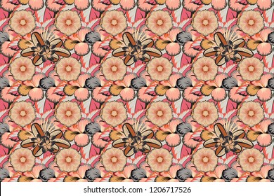Textile print for bed linen, jacket, package design, fabric and fashion concepts. Raster seamless pattern with plumeria flowers and leaves in pink, gray and beige colors. Elegnat floral background.