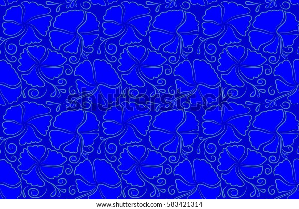 Textile print for bed linen, jacket, package design, fabric and fashion concepts. Exotic seamless pattern floral design. Watercolor floral seamless pattern. Blue hibiscus pattern.