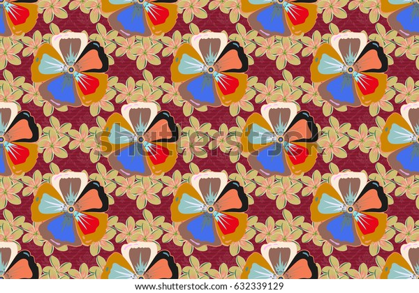 Textile print for bed linen, jacket, package design, fabric and fashion concepts. Raster seamless pattern with flowers and leaves in orange and blue colors. Floral background with watercolor effect.