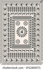 textile traditional African art carpet design. ethnic art and printed dupatta pattern design.