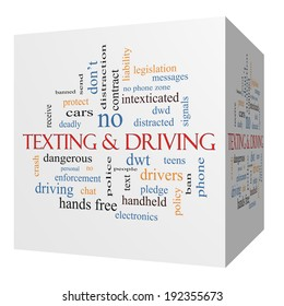 Texting and Driving 3D cube Word Cloud Concept with great terms such as deadly, cars, teens and more.