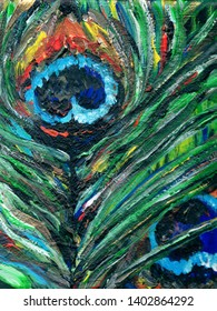 Textural peacock feathers in green and orange