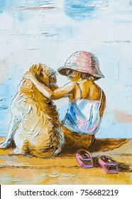 Texture, background. Painting on canvas painted with oil paints. The picture drawn by a boy sitting on the beach (lake) with a boy sitting next to dog