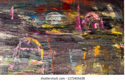 Texture, background, pattern. A painting painted by the artist with oil paints. Abstract multicolored strokes, surreal drawing