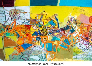 Texture. Background. Template. colorful painting on canvas. Oil painting colorful texture. Abstract Fragment of artwork on canvas. Modern Art.