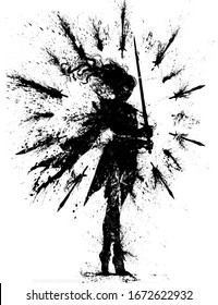 Texture blotted silhouette of a girl swordswoman, standing in a strong wind, which shakes her hair and cloak, she holds a blade in her hands, daggers soar around her. 2d