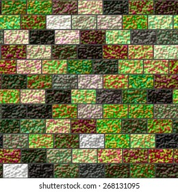 Texture of a colored brick wall - colorful grunge art wall illustration, wallpaper, background