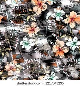 texture digital flowers on background