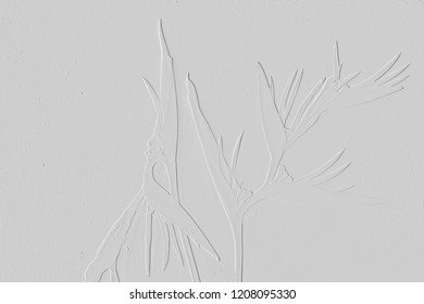 Texture of embossed flower,background light grey