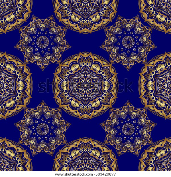Texture of gold foil. Art deco style. Shiny backdrop. Gold circles seamless pattern. Abstract gold geometric modern design on a blue background.