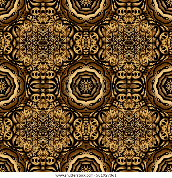The texture of golden elements on black background. Golden seamless pattern.