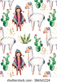 Texture with high quality hand painted watercolor elements for your design with cactus plants,flowers,cute American Indian girl in traditional poncho and her best friend-lama.For your unique creation.