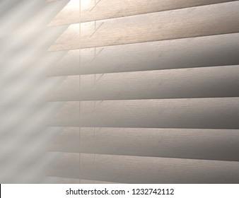 Texture of louver or jalousie, sunlight through the jalousie morning fog 3d illustration