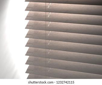 Texture of louver or jalousie, sunlight through the jalousie 3d illustration