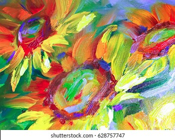 Texture oil painting,  flowers, painting fragment of painted color image, wallpaper and backgrounds, for backgrounds and textures floral pattern in oil on canvaswers, art, painted color image,