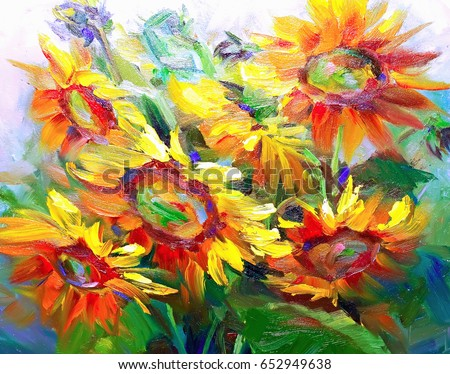 Texture Oil Paintings Flowers Painting Fragment Stock Illustration