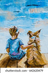 Texture, pattern, canvas painted in oils. The painting is painted a boy with a dog sitting on the shore of the lake
