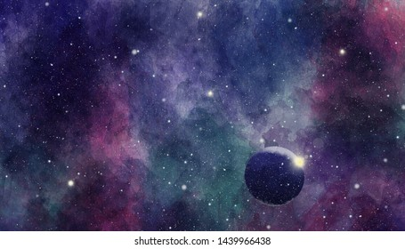 Texture of soft colored abstract watercolor space background