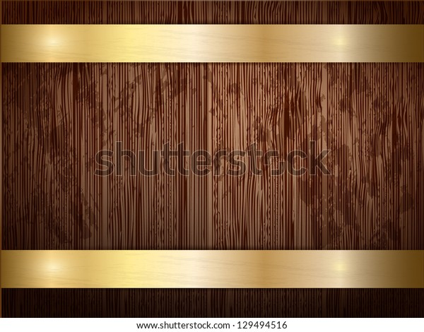 Texture of wood with gold panels.
