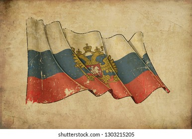 Textured aged Papyrus Background with a scratched illustration of the Waving Flag of Russian State