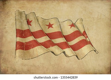 Textured aged Papyrus Background with a scratched illustration of the Waving Flag of Papyrus Background – Flag of Washington DC