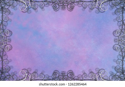 Textured Background with Flourishes. Purple colors. 3D rendering