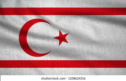 Textured flag of Turkish Republic of Northern Cyprus.