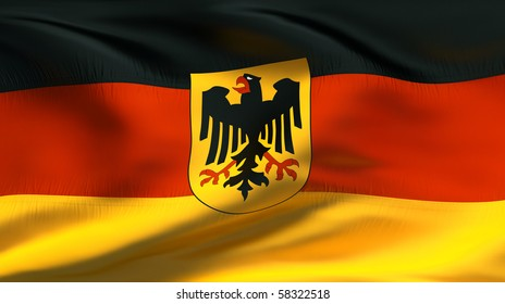 Textured GERMAN  cotton flag with eagle  wrinkles and seams