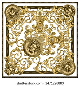Textured Golden Baroque, Fashionable pattern in ancient vintage style with medusa head, greek border, white background. Pattern for textile, scarves, design and backgrounds.