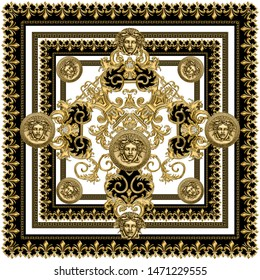 Textured Golden Baroque, Fashionable pattern in ancient vintage style with medusa head, greek border, black-white background. Pattern for textile, scarves, design and backgrounds.