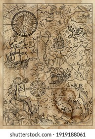 Textured marine illustration of map with mermaid, islans, continent, ship, compass and sea monsters.  Nautical drawing, adventure concept, engraved background