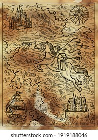 Textured marine illustration of old map with rider, compass, sailboat and fantasy land with islands. Nautical drawing, adventure concept, engraved background