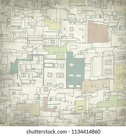 textured old paper background with simplified architecture of Risco de San Jose in Las Palmas de Gran Canaria digital drawing