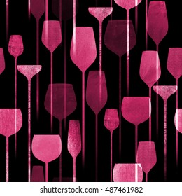 Textured paper collage art party drinks seamless pattern, conceptual colorful alcohol drinks repeating background for web and print purpose.