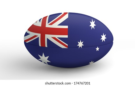 A textured rugby ball in the colors of the australian national flag on an isolated white background