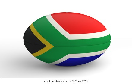 A textured rugby ball in the colors of the south african national flag on an isolated white background
