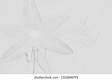 Textures by embossed flower on background grey