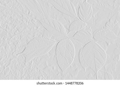 Textures of embossed leaves with background grey