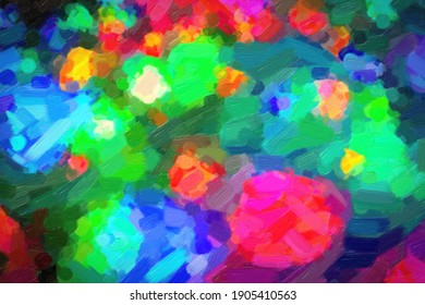 textures of multicolored spots on canvas painted with oil
