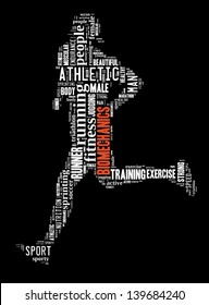 text/word cloud/word collage of biomechanics composed in the shape of a person running (fitness series)
