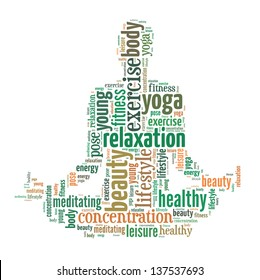 text/word cloud/word collage composed in the shape of a man doing yoga meditation pose (man fitness series)