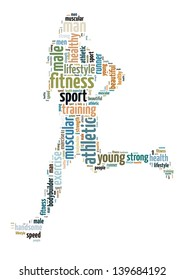 text/word cloud/word collage composed in the shape of a man running (man fitness series)