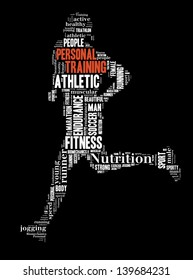 text/word cloud/word collage of personal training composed in the shape of a person running (fitness series)