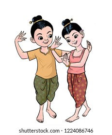 The Thai children and tradition dance. Hand drawn and digital painting illustration. For education illustration, learning cards illustration, children books illustration, wallpaper, background,