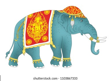 Thai Elephant Drawing,traditional style in Thailand