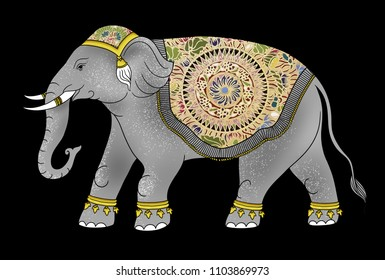 Thai Elephant Drawing,traditional style in Thailand, changthai art