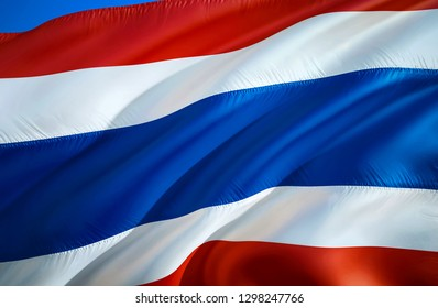Thai flag. 3D Waving flag design. The national symbol of Thai, 3D rendering. Thai National colors. National flag of Thailand for a background. Thailand sign on smooth silk