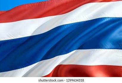 Thai flag. 3D Waving flag design. The national symbol of Thailand, 3D rendering. Thai National colors. Thailand 3D Waving sign background design. 3D ribbon, wallpaper, pattern background