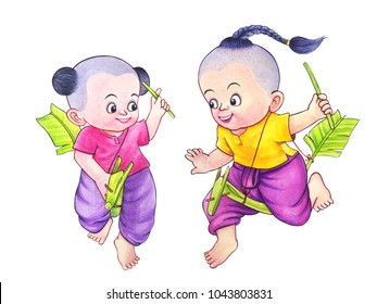 Thai children's games.banana rob hobbyhorse riding.Hand drawn watercolor painting on white background.High resolution.Clipping path included.